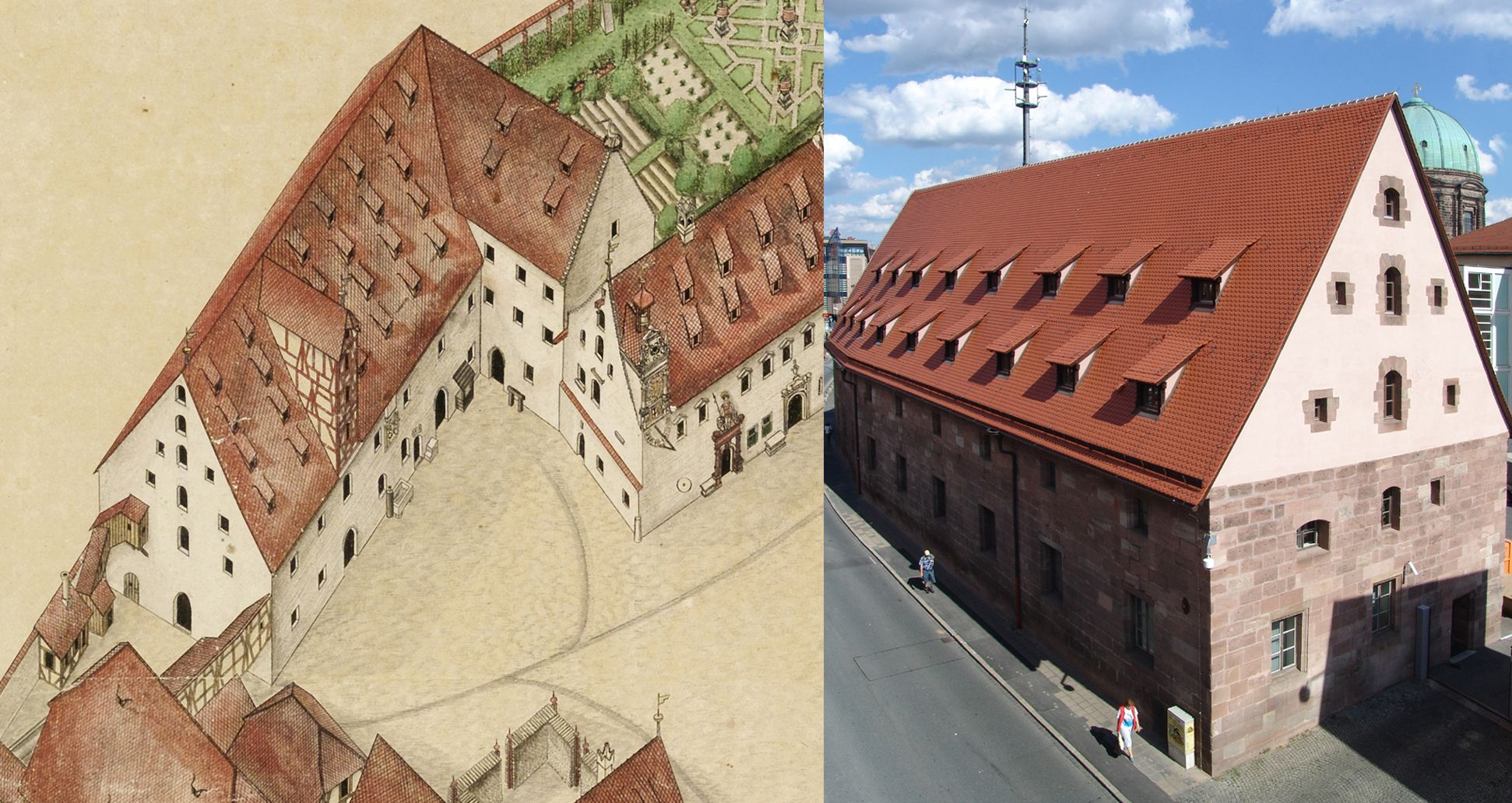 Isometric sketch of the German House in Nuremberg from the bird´s eye as seen from the south/west Comparison Bien and photograph (the top hatch in the front gable is bricked up and the number of four tiers of dormer windows has been reduced to two)
