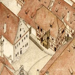 Isometric sketch of the German House in Nuremberg from the bird´s eye as seen from the south/west