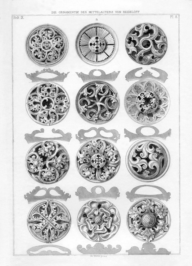 Ornamentation in the Middle Ages Rosettes from the rose room in Coburg Castle (Veste Coburg)