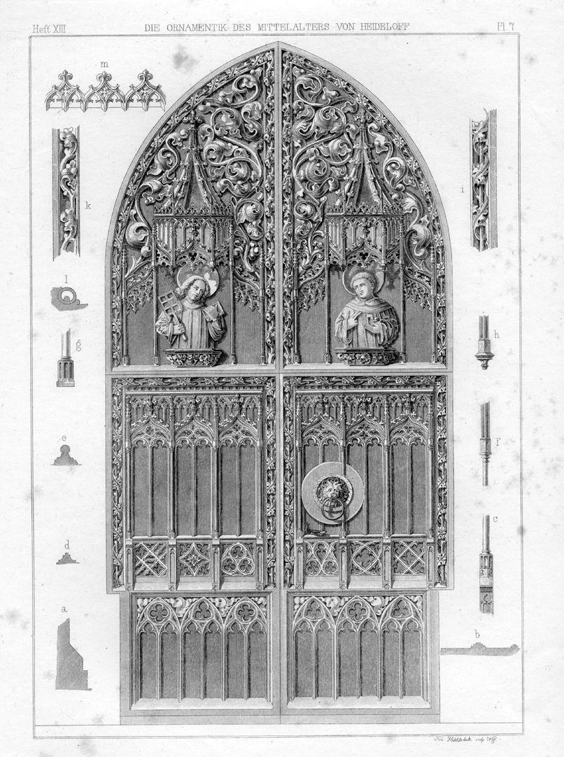 Brides´Portal Entrance Ornamentik des Mittelalter von Heideloff, Heft XIII PL 7