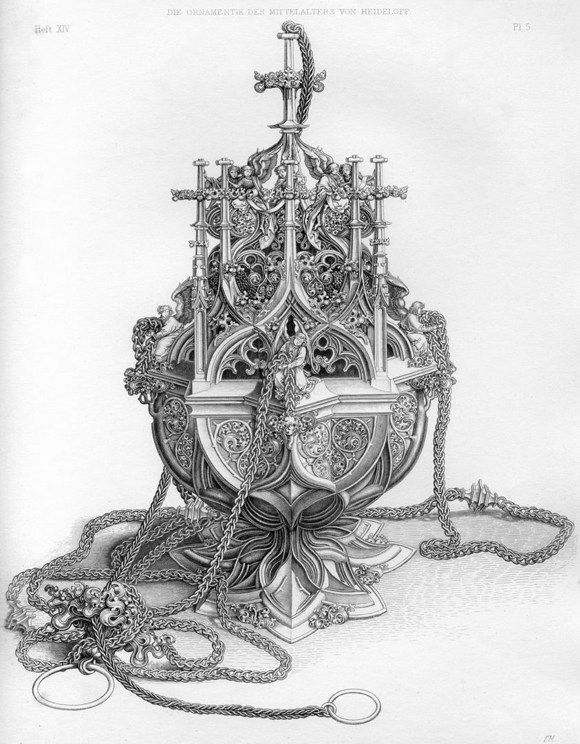 Ornamentation in the Middle Ages Copy of the engraving of a censer by Martin Schongauer from Colmar