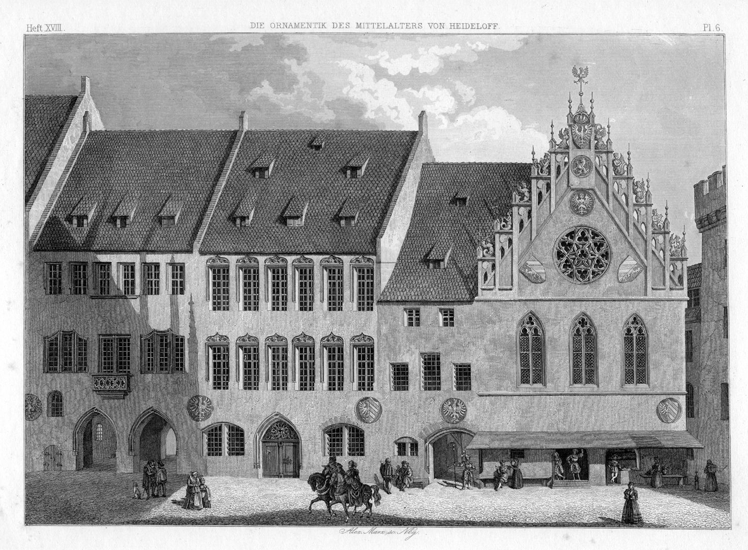 Ornamentation in the Middle Ages City Hall, West front before the reconstruction by Jacob Wolff, supposedly according to  a hand sketch of 1616