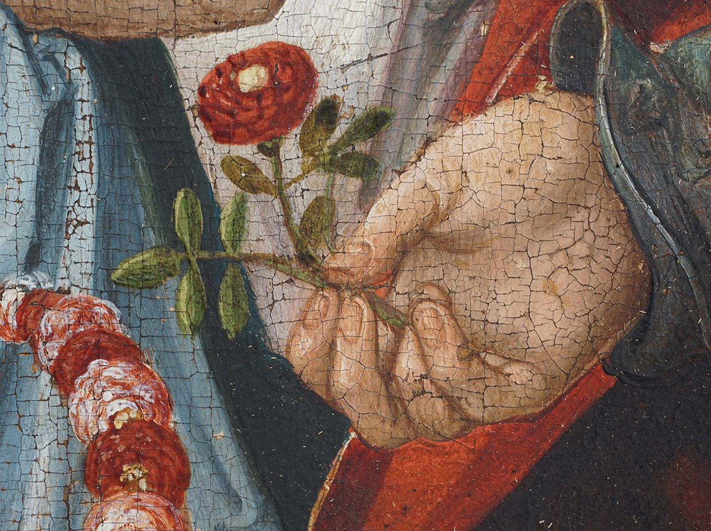 Holy Kinship Anne, hand with flower