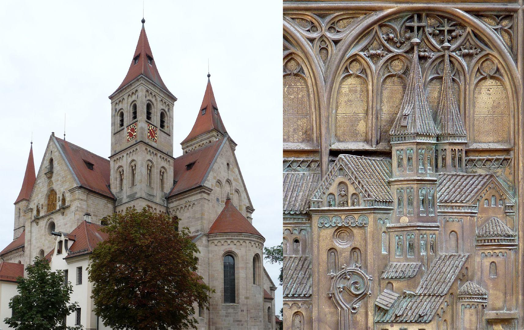 Memorial panel for Hariolf and Erlolf Bildvergleich der Basilika von Südost mit dem Kirchenmodell