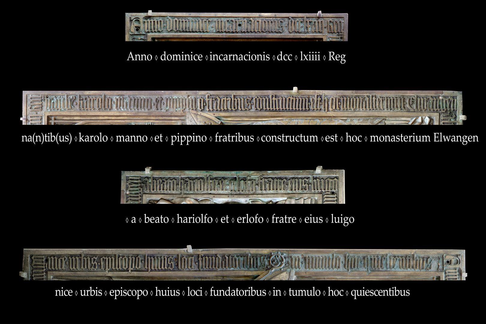 Memorial panel for Hariolf and Erlolf Im Jahr der Menschwerdung des Herrn 764 als die Brüder Karlmann und Pippin regierten, wurde dieses Kloster Ellw. von den Gründern dieses Ortes, dem selig. Hariolf und seinem Bruder Erlolf, dem Bischof der Stadt Langres, errichtet. Sie ruhen in diesem Grab