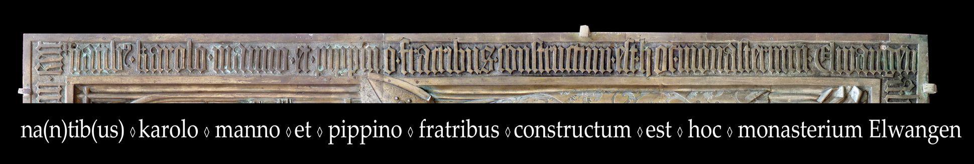 Memorial panel for Hariolf and Erlolf Inschrift am rechten Plattenrand