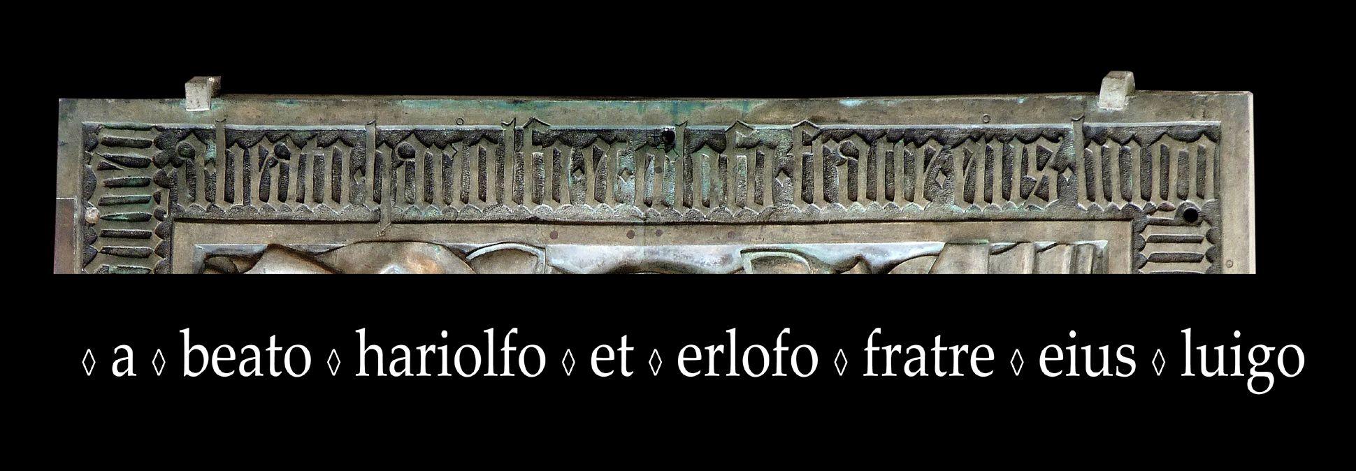 Memorial panel for Hariolf and Erlolf Inschrift am unteren Plattenrand