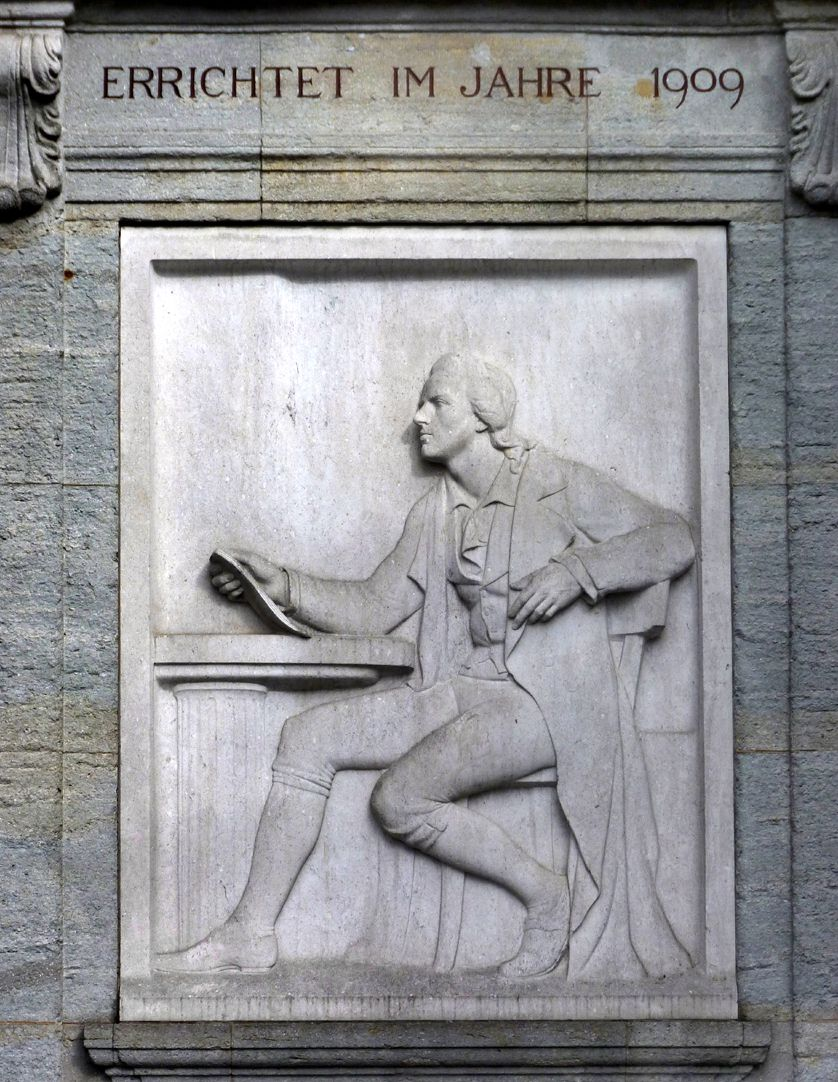 """Schiller Monument Marble relief, """"Schiller´s poetic art is resting on a classical column"""""""
