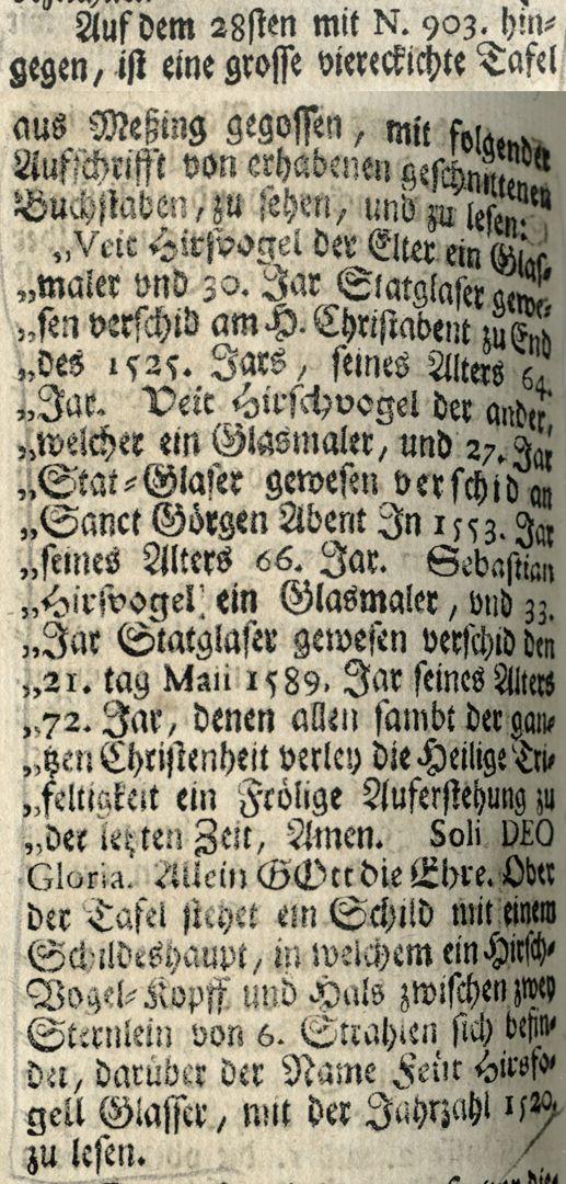 "Hirsvogel Epitaph Excerpt from Joh. Martin Trechsel's, Großkopf genannt: ""Verneuertes Gedächtnis des nürnbergischen Johannis Kirch Hof ..."". , Franckf. & Leipzig 1735"