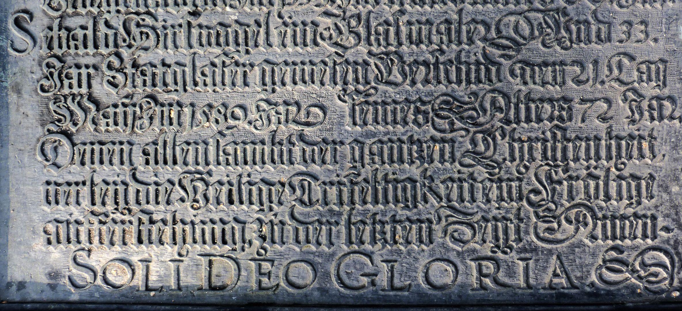 Hirsvogel Epitaph lower part of the panel with entry Sebald Hirsvogel