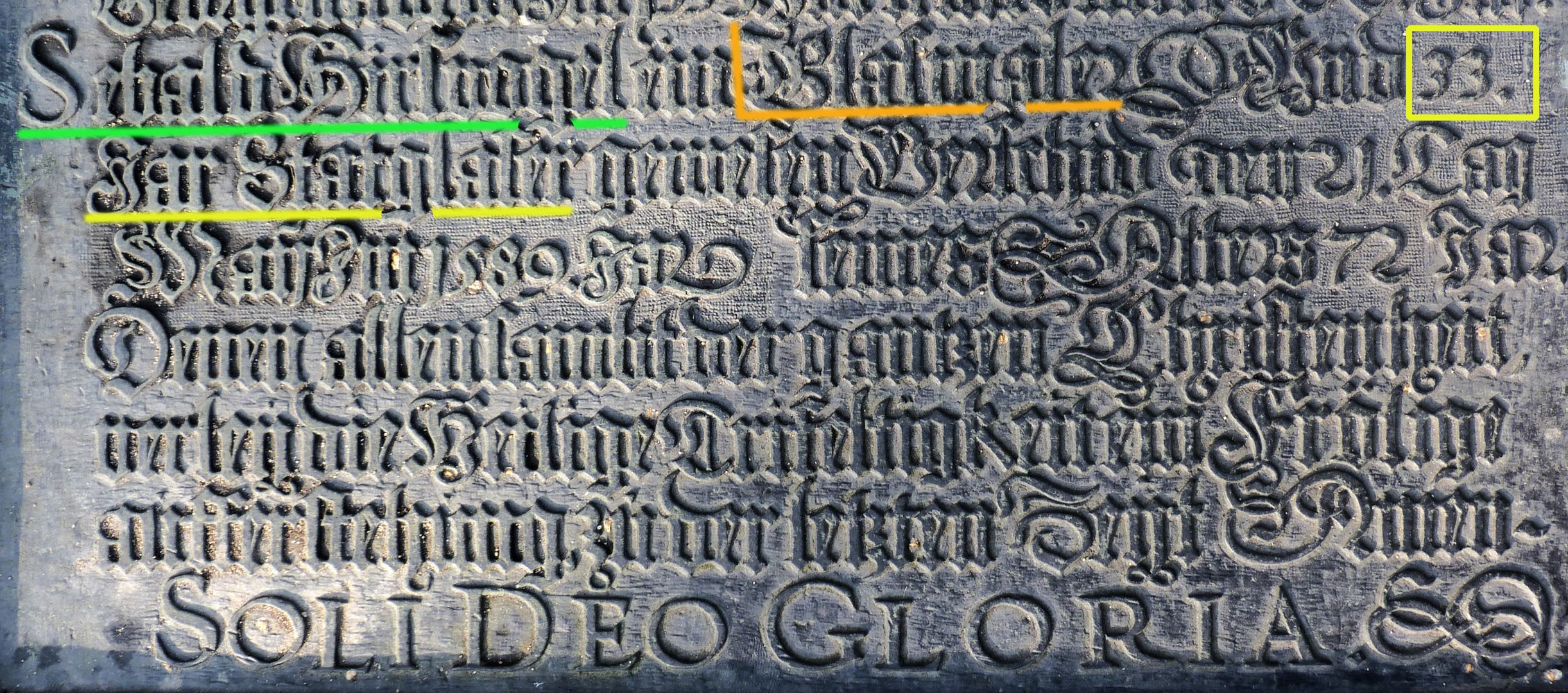 Hirsvogel Epitaph lower part of the panel with entry Sebald Hirsvogel / mark (name, glass painter, years as city glazier)