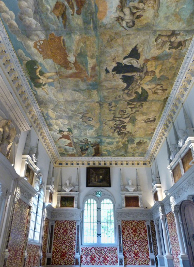 The fall of Phaethon, ceiling painting View to the west from below