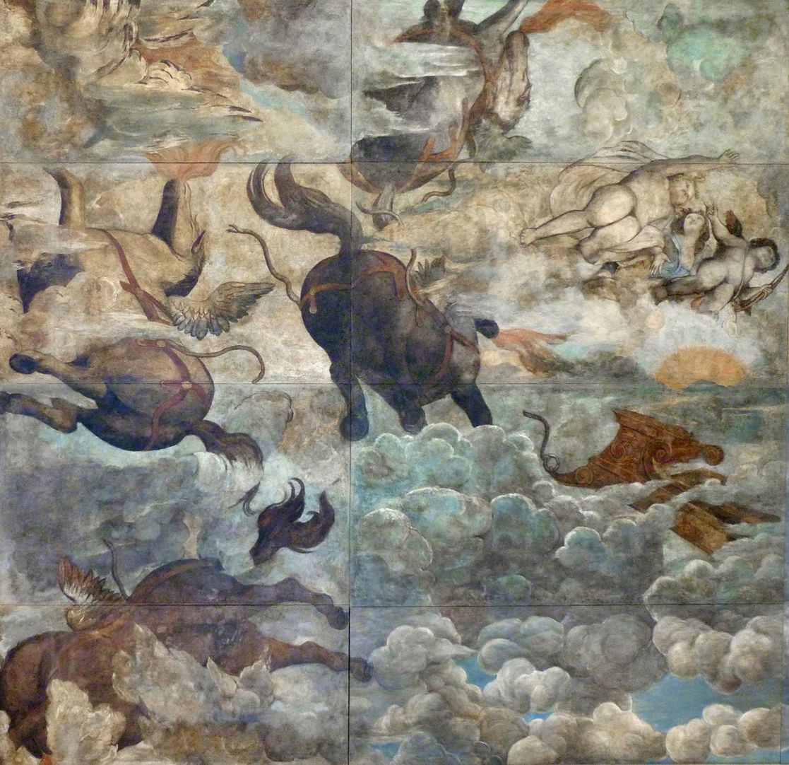 The fall of Phaethon, ceiling painting Left third of the painting