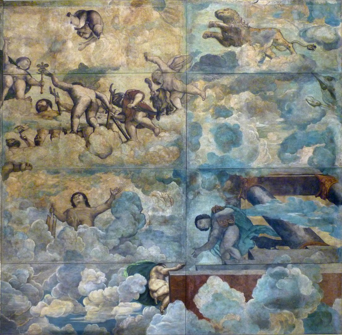 The fall of Phaethon, ceiling painting Right third of the painting