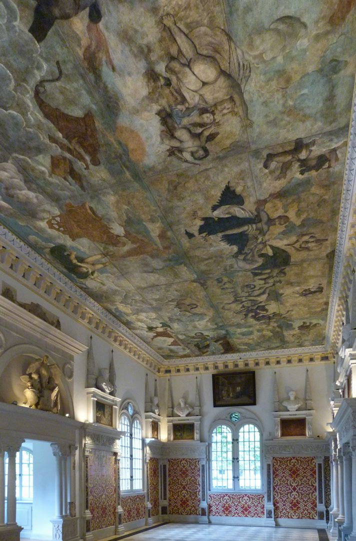 The fall of Phaethon, ceiling painting View to the south west