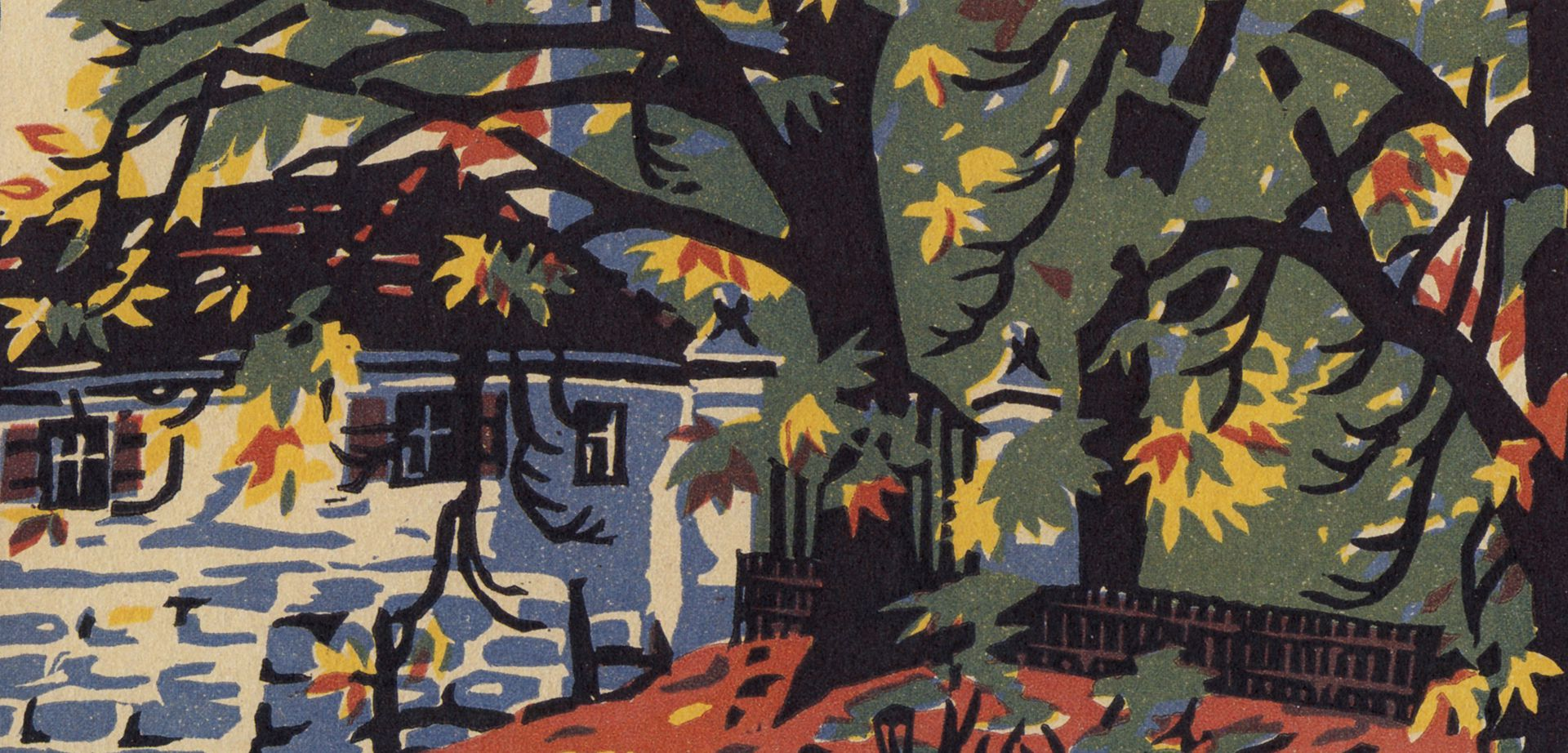 Hummelstein Park Colored linocut