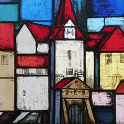 Stained glass windows on the city history