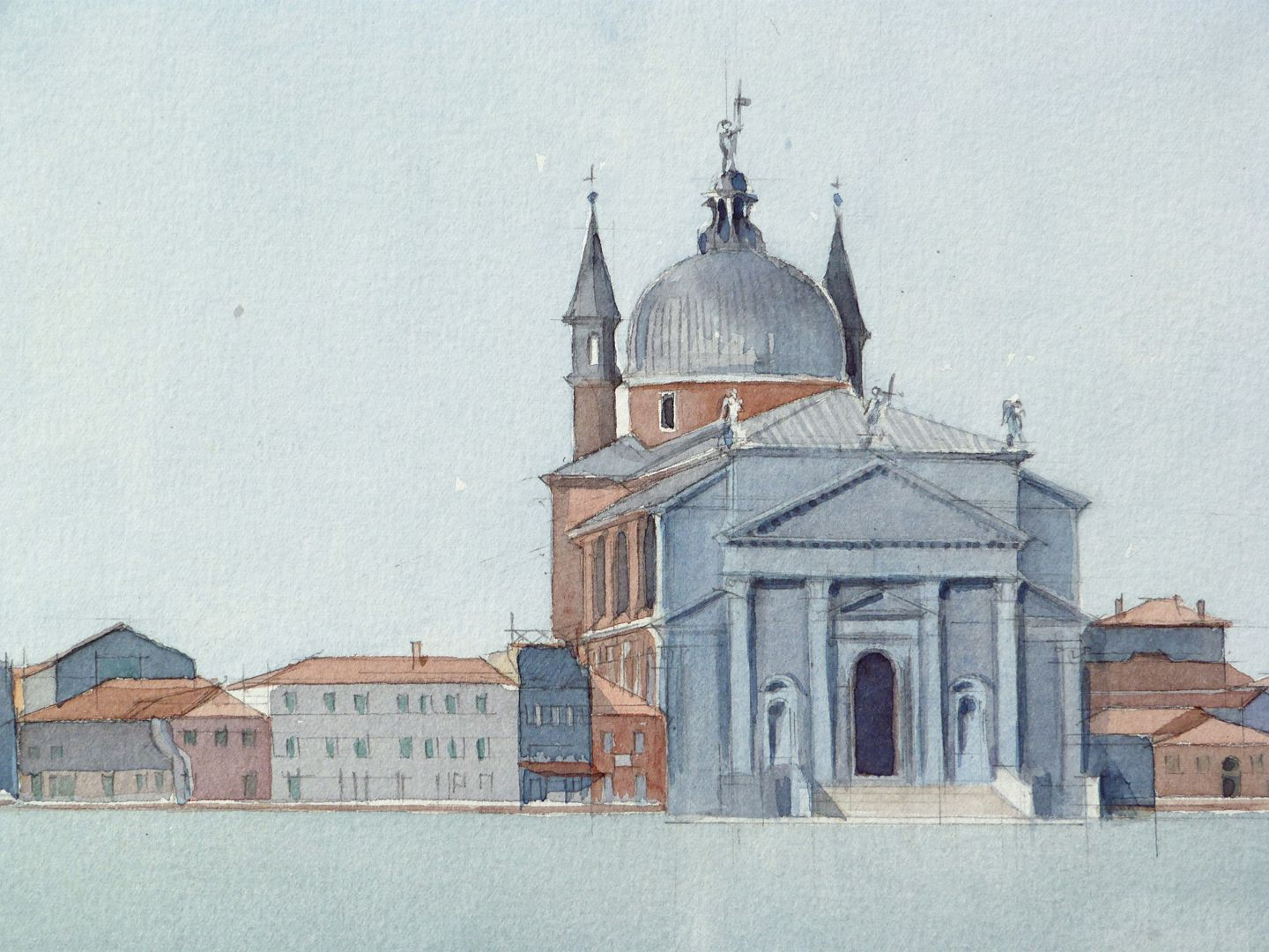 Il Redentore (Venice) Situation on the bank with church building by Andrea Palladio
