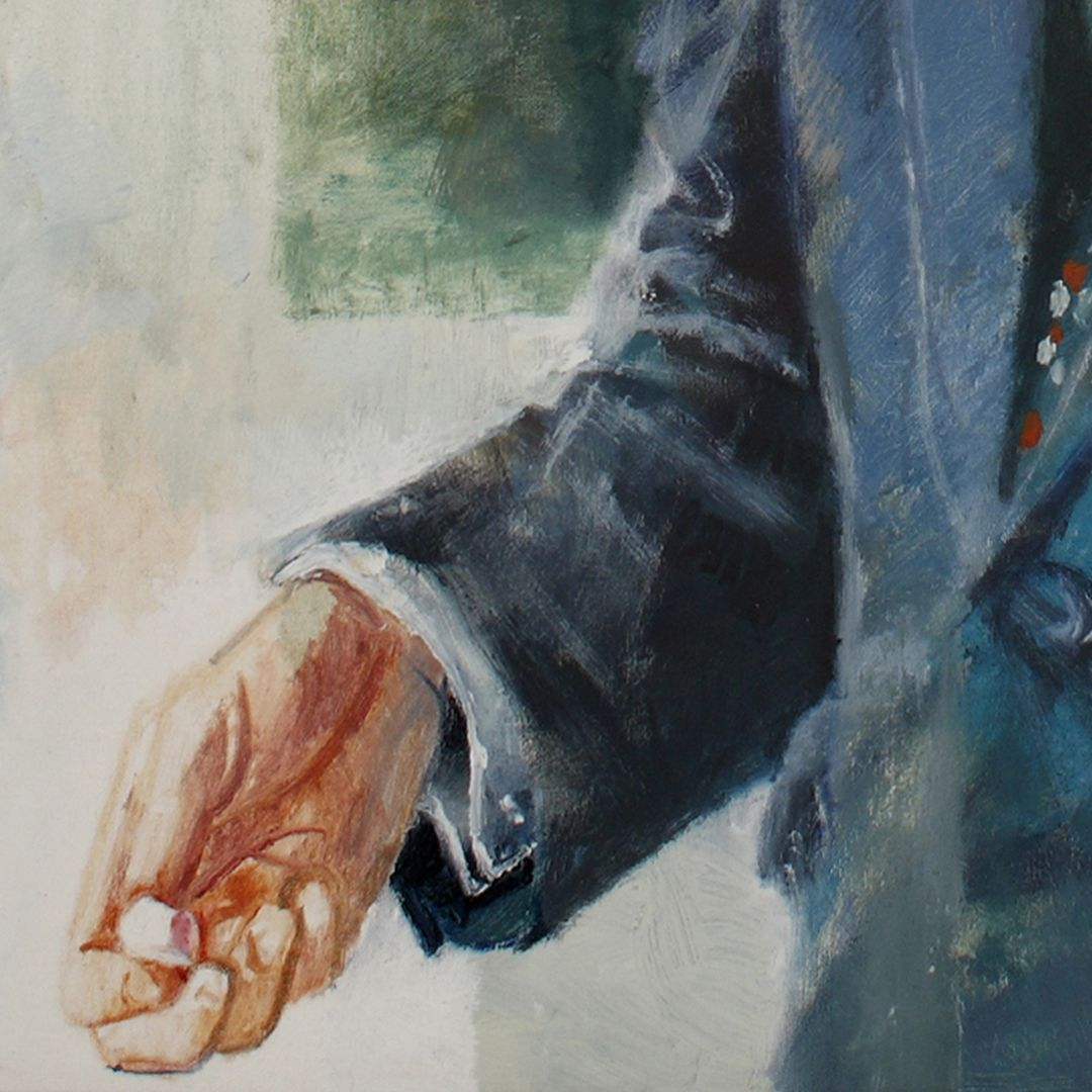 Portrait of Prof. Dr. Bernhard Ilschner Detailed view, right hand with a piece of chalk