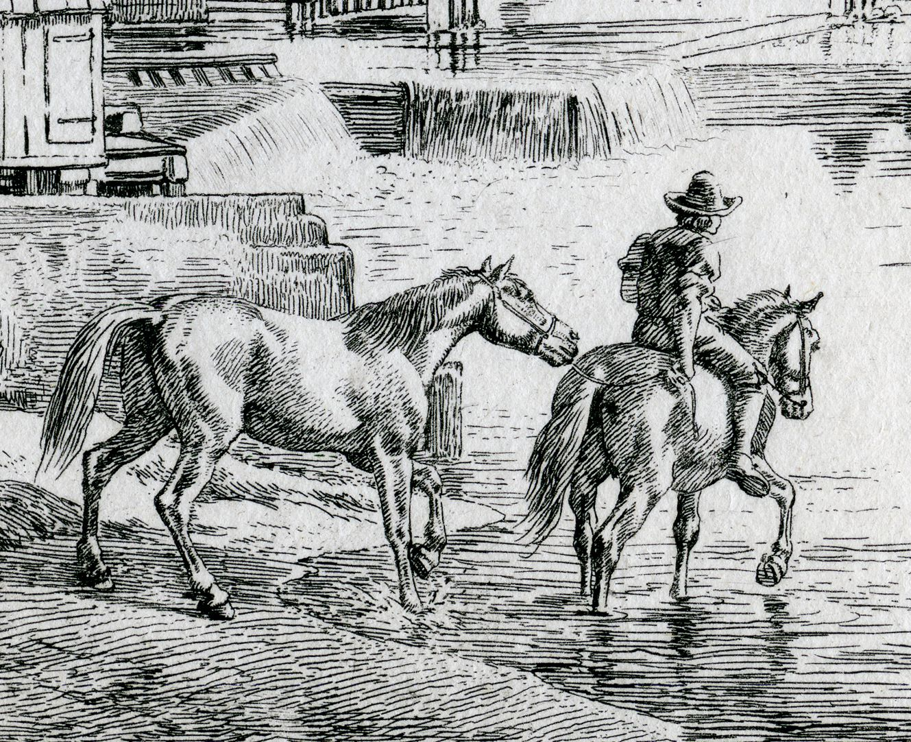 In the proximity of Weidenmühle, near Nuremberg Detail with horses and horseman
