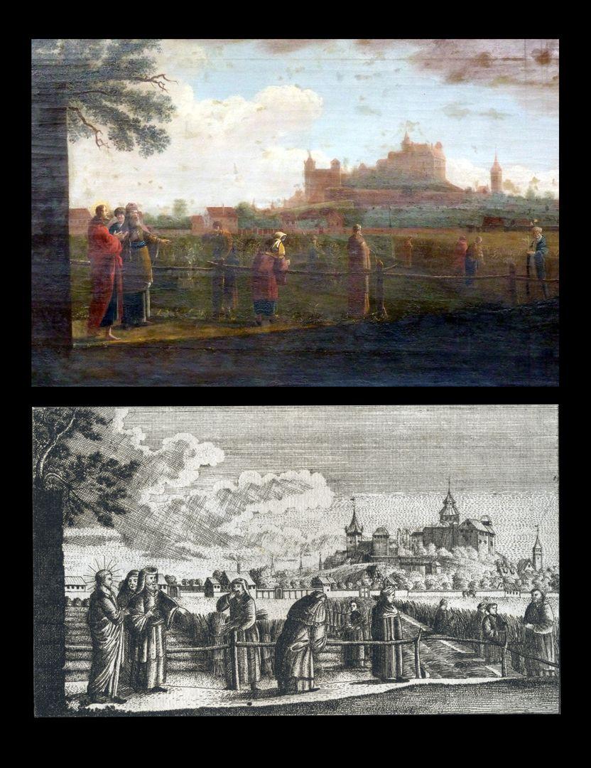 Prospect der Johannes_Felder bei Nürnberg Gegenüberstellung des Gemäldes von Bartholomäus Wittig und des Kupferstichs von Johann Georg Dein
