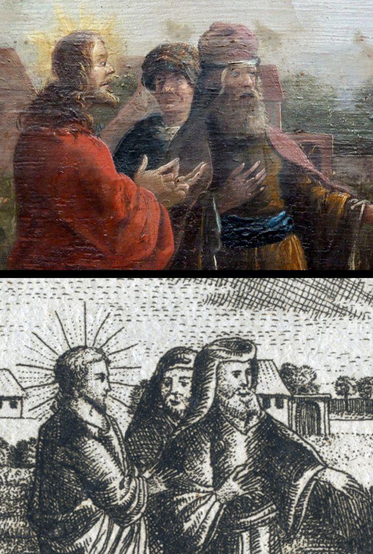 Prospect der Johannes_Felder bei Nürnberg Detailvergleich des Gemäldes von Bartholomäus Wittig und des Kupferstichs von Johann Georg Dein