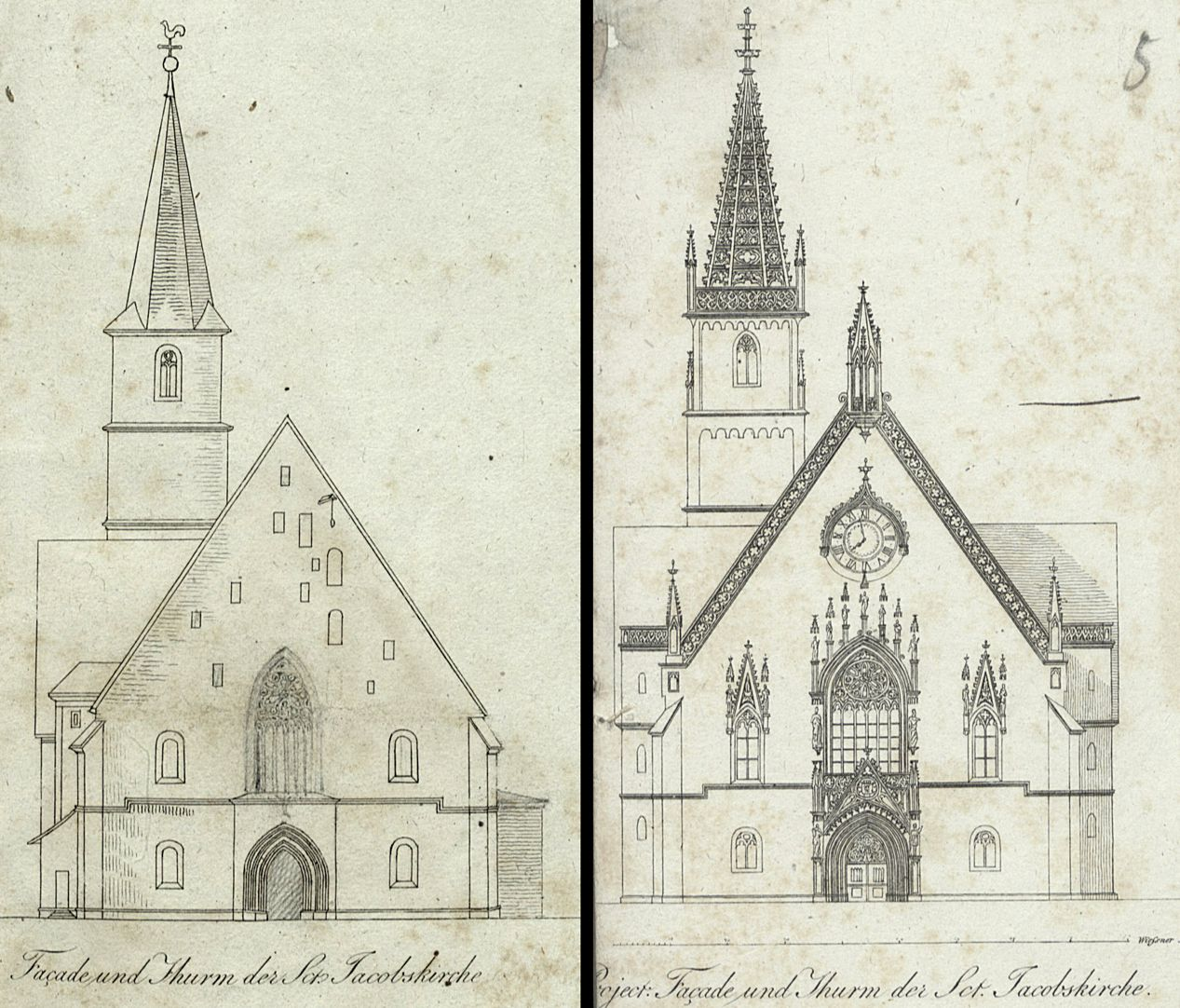 Draft for the new design of St. Jacob´s church in Nuremberg The graphic on the left shows that Heideloff had already replaced the stairwell by a traceried window, in the right graphic traceried window, gable helmet and side windows are Gothic Revival, but fortunately this plan was not carried out