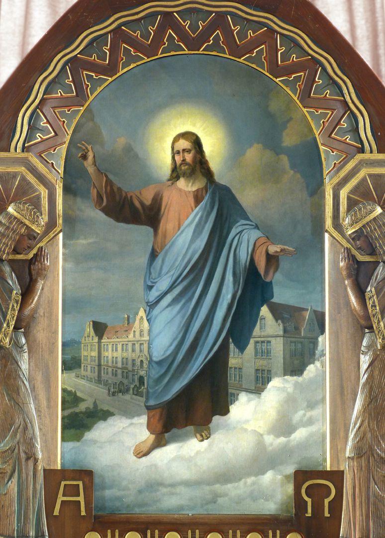Jesus breitet segnend seine Hände über die Nürnberger Taubstummen-Anstalt aus Altarbild