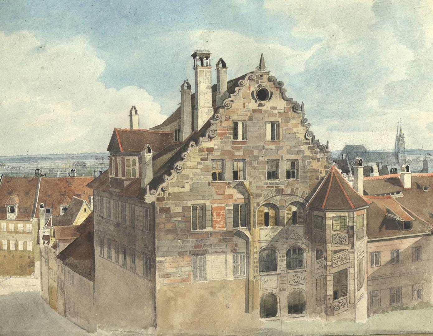 Nürnberg, Blick vom Paniersplatz auf die Stadt Nördliche Giebelfassade und der Treppenturm des Hauses Paniersplatz Nr.9, sogenannter Hertelshof