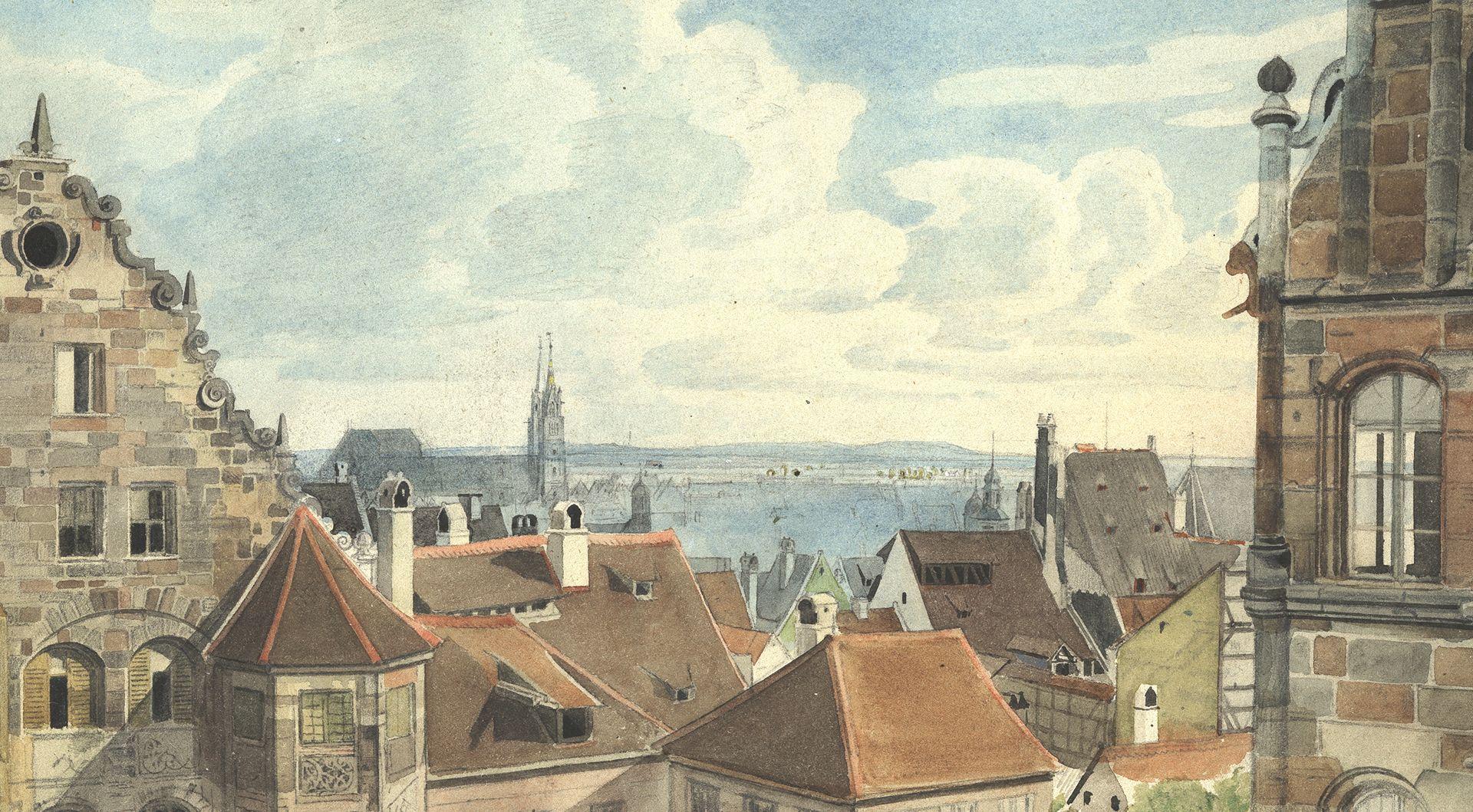 Nürnberg, Blick vom Paniersplatz auf die Stadt Aussicht zwischen Hertelshof und Toplerhaus