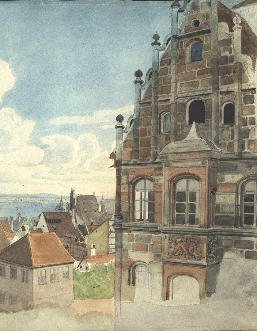 Nürnberg, Blick vom Paniersplatz auf die Stadt Ostgiebel des Toplerhauses