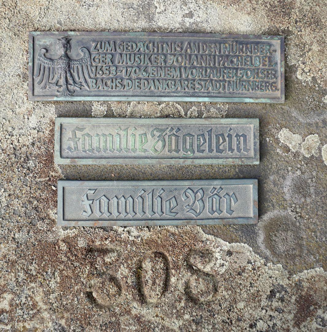 Johann Pachelbel Gravesite Commemorative plaque for Pachelbel and two more plaques