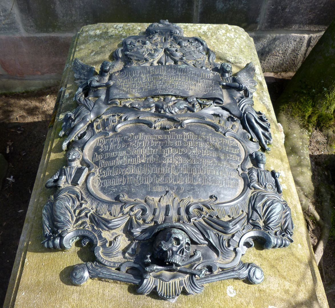 Tomb of Georg Wolff Pantzer and his spouse Anna Maria Elisabetha Ruland Total view of the cartouche