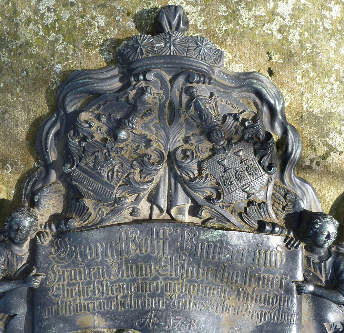 Tomb of Georg Wolff Pantzer and his spouse Anna Maria Elisabetha Ruland Alliance coat of arms