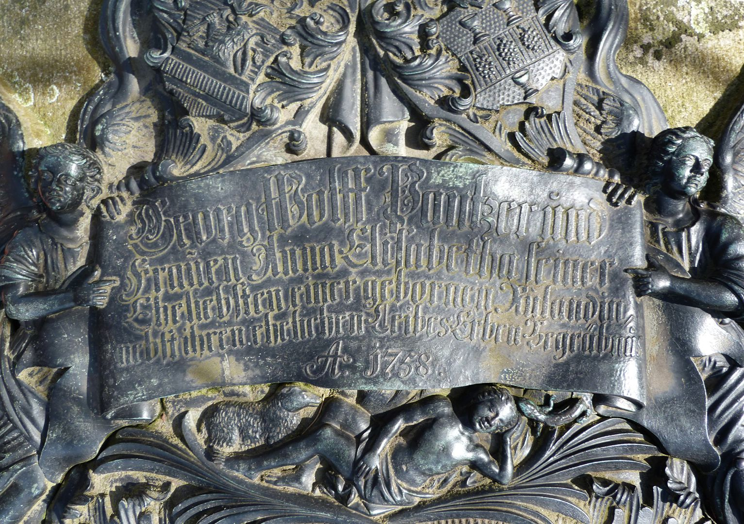Tomb of Georg Wolff Pantzer and his spouse Anna Maria Elisabetha Ruland Upper inscription