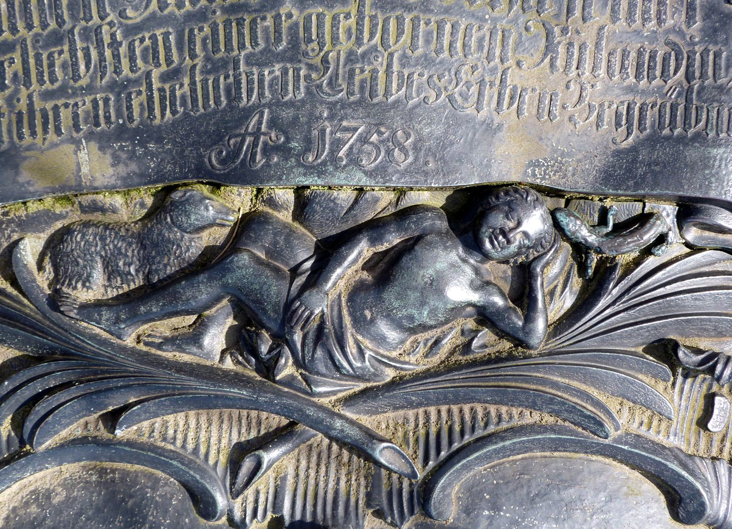 Tomb of Georg Wolff Pantzer and his spouse Anna Maria Elisabetha Ruland Sleeping figure with lizard