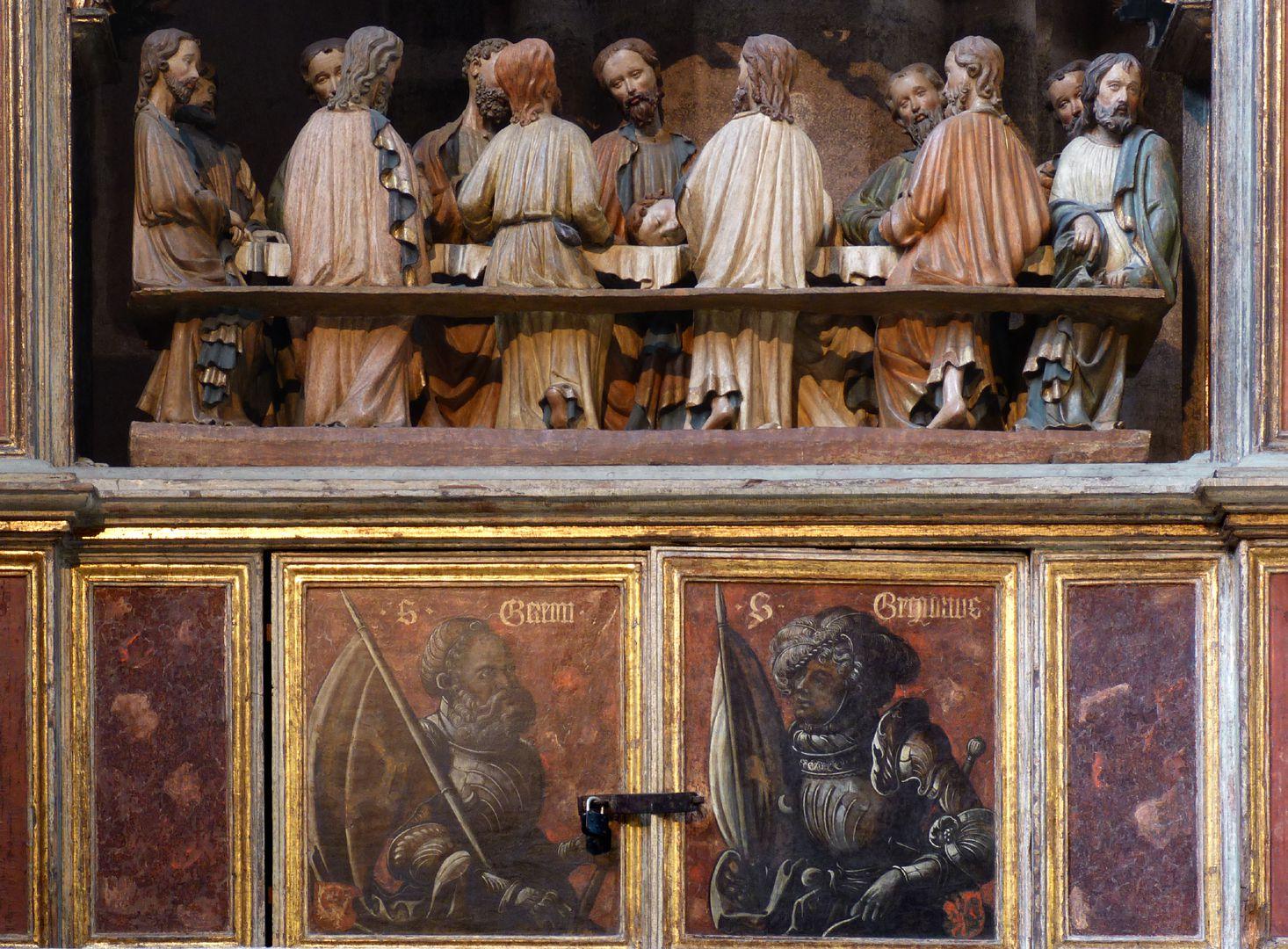 Johannesaltar (Altar der beiden Johannes) Predella mit Sepiamalerei ( hl. Gereon und hl. Gregorius)
