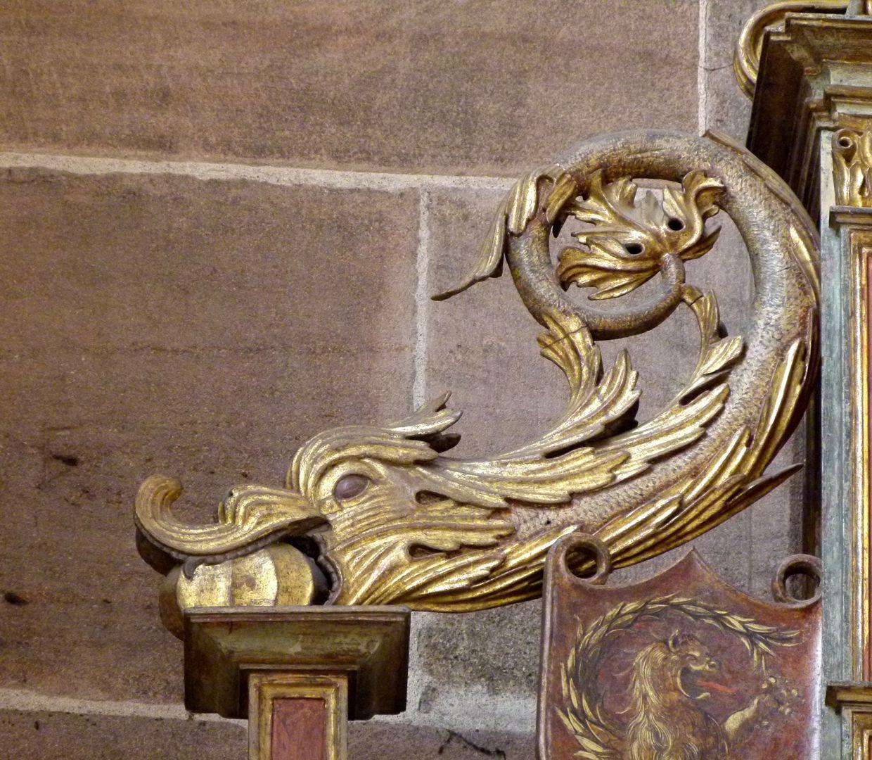 Johannesaltar (Altar der beiden Johannes) linkes drachenartiges Fabelwesen