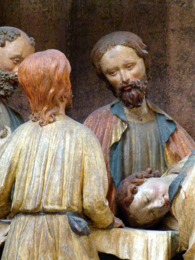 Johannesaltar (Altar der beiden Johannes) Abendmahl, Zwei Apostel und Jesus mit schlafendem Johannes