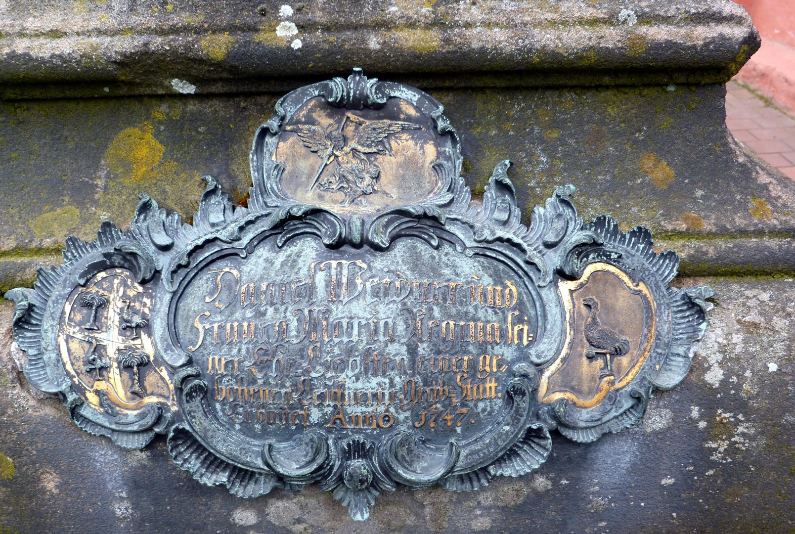 Tomb of Daniel Weidner and his spouse Maria Regina Leutner Rococo cartouche at the west side
