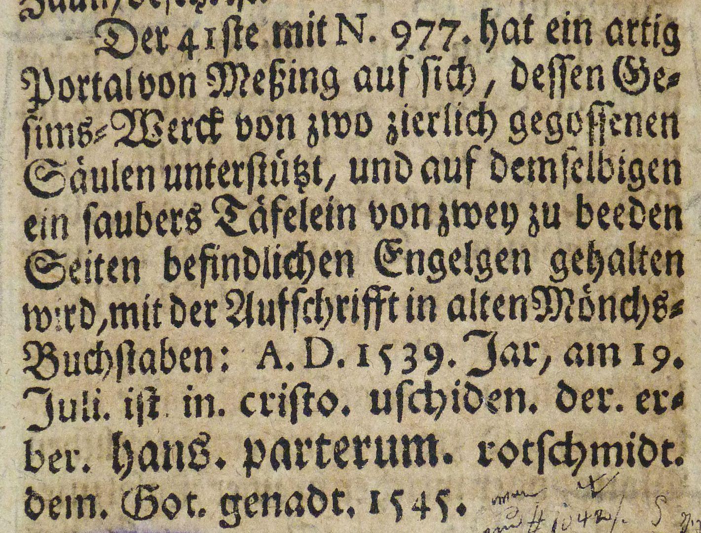 """Epitaph des Hanß Parterum Auszug aus Joh. Martin Trechsels, Großkopf genannt: """"Verneuertes Gedächtnis des nürnbergischen Johannis Kirch Hof ..."""" , Franckf. & Leipzig 1735"""