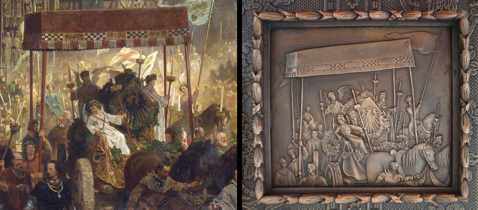 """Paul Ritter Grabstätte Detailvergleich aus """"Die Einbringung der Reichskleinodien"""", links Gemäldedetail, rechts gerahmtes Detail auf dem Epitaph"""
