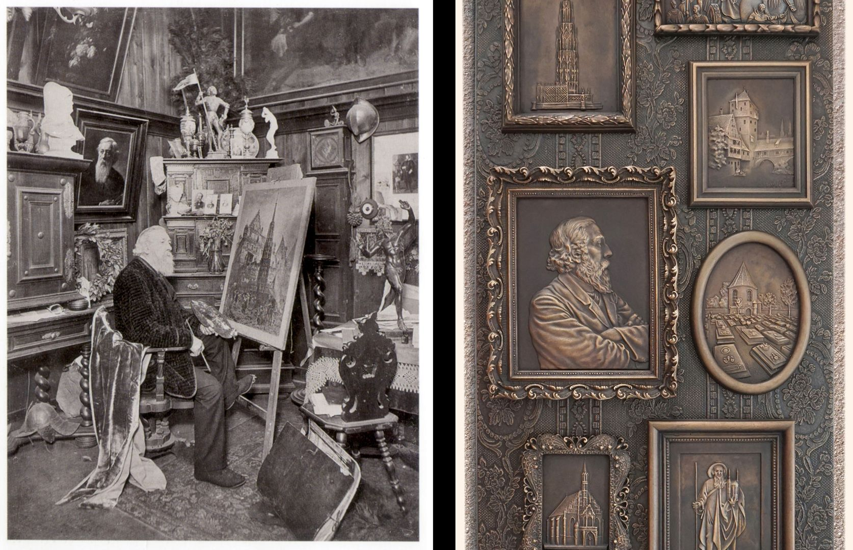 Paul Ritter Grabstätte Paul Ritter in seinem Atelier und Detailansicht des Epitaphs
