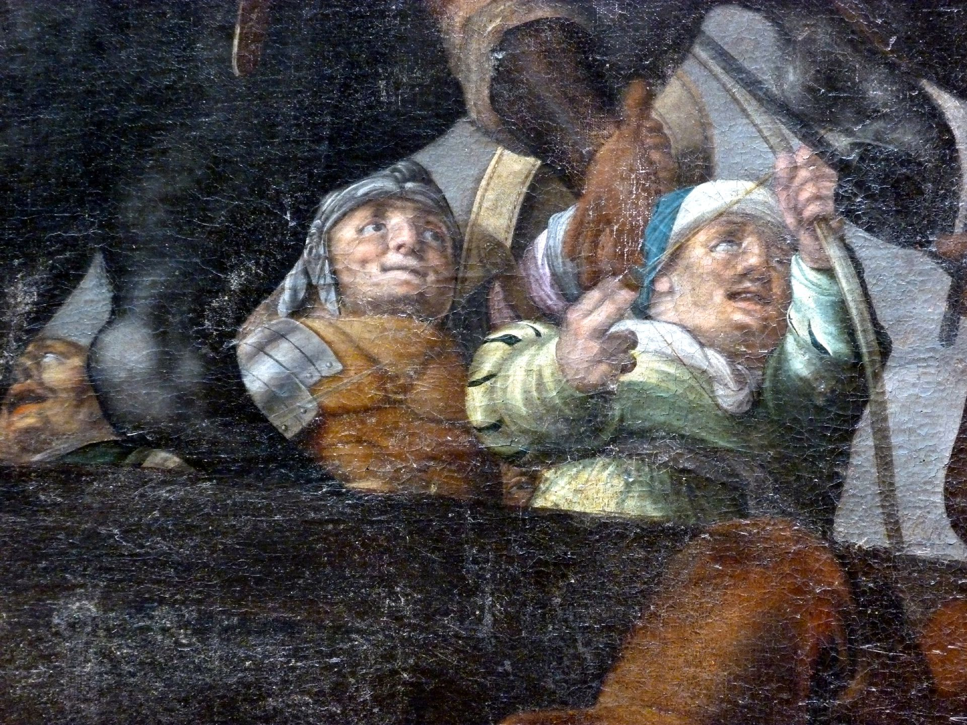 Ceiling painting in the small hall of the City Hall Demolition of the Tiber bridge by Horatius Cocles, detail with fighter