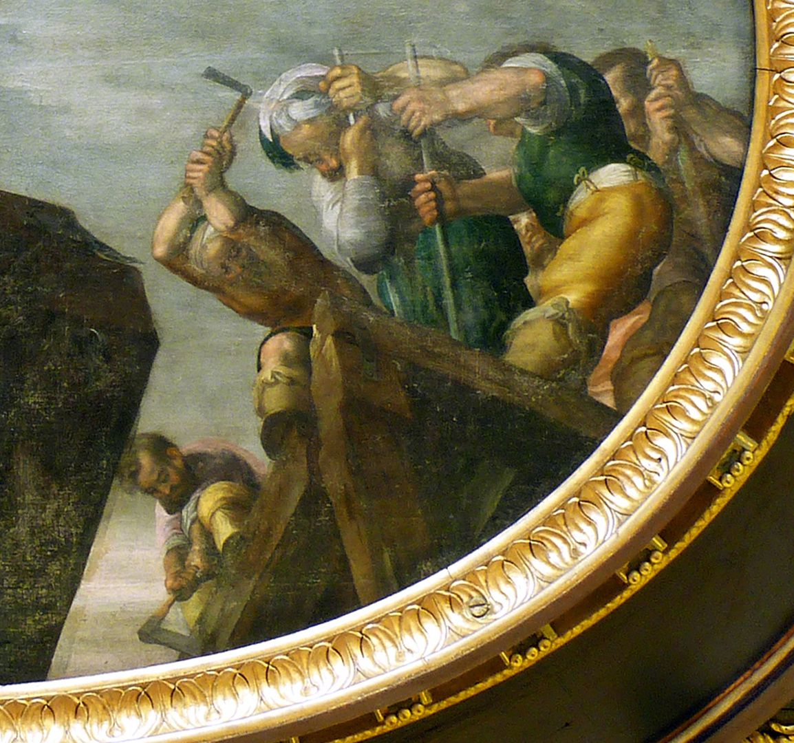 Ceiling painting in the small hall of the City Hall Demolition of the Tiber bridge by Horatius Cocles, detail with Horatius Cocles