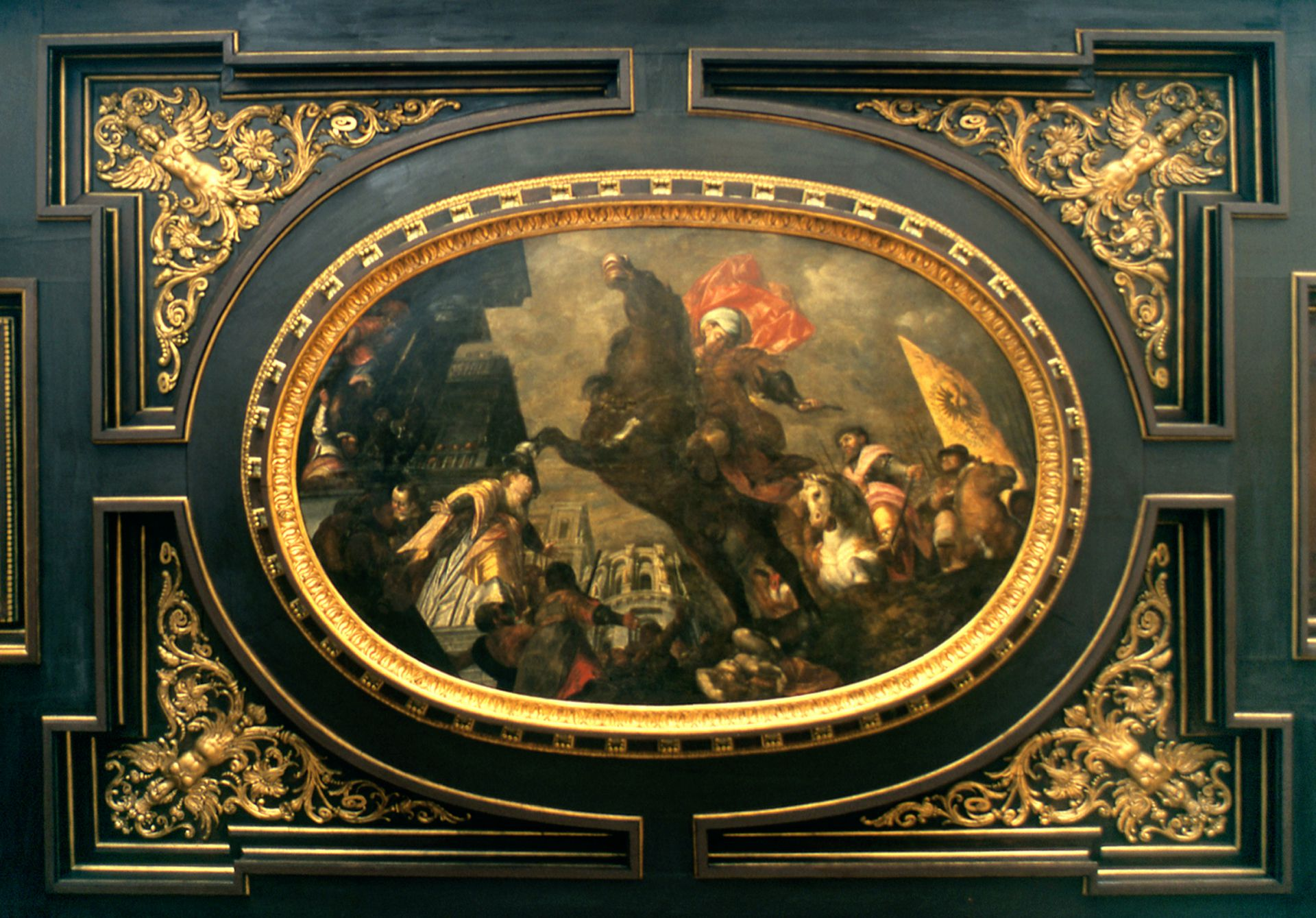 Ceiling painting in the small hall of the City Hall Feat of Marcus Curtius?