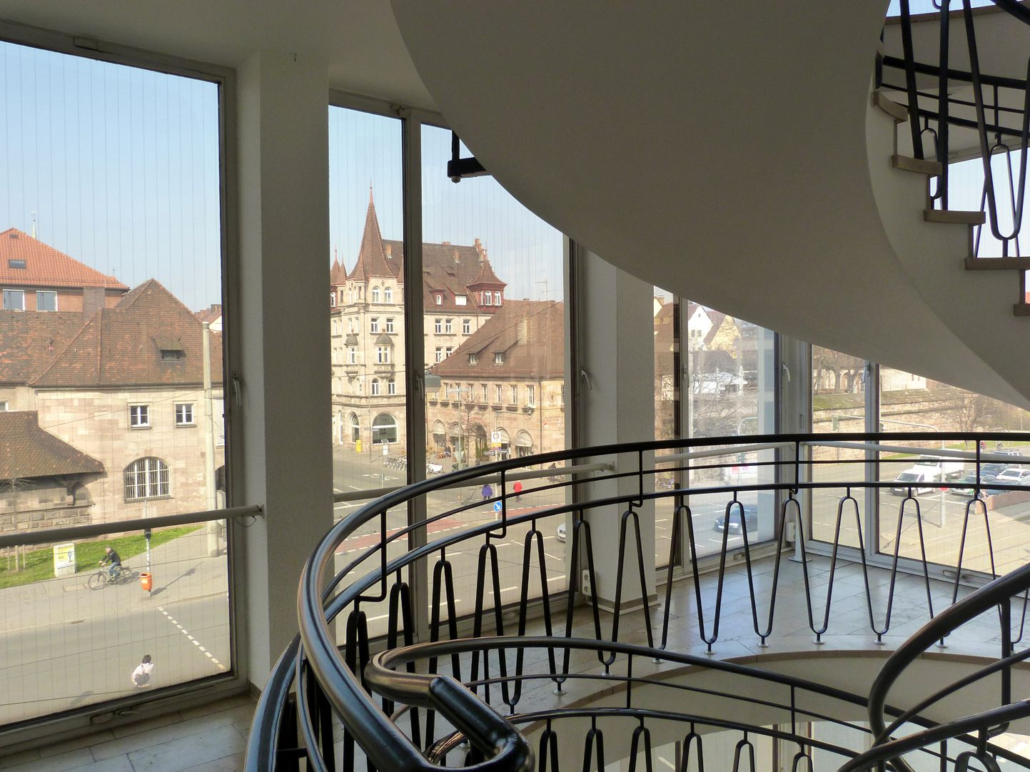 Administration building on Königstorgraben Stairwell with view of the Old City
