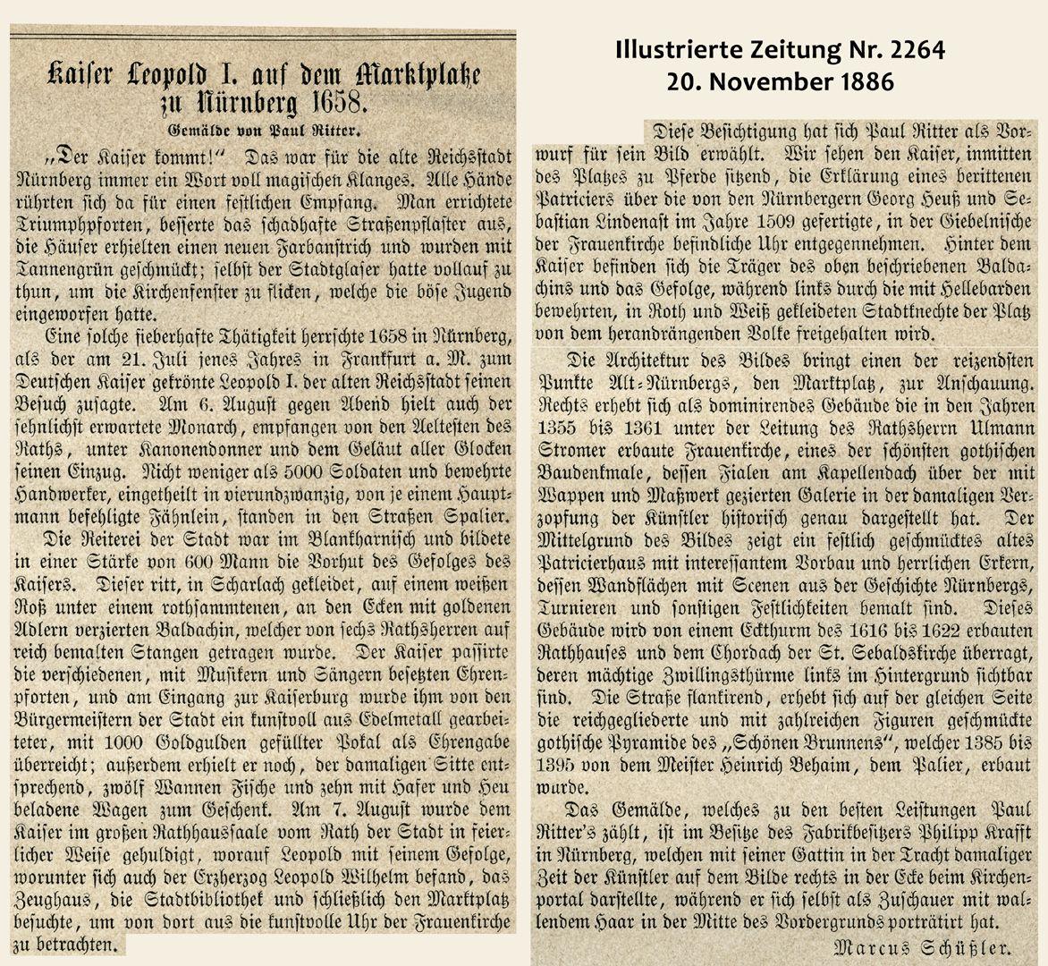 Marktplatz in Nürnberg mit Einzug Kaiser Leopolds 1658 Beschreibung zum Holzstich in der Illustrierten Zeitung 1886