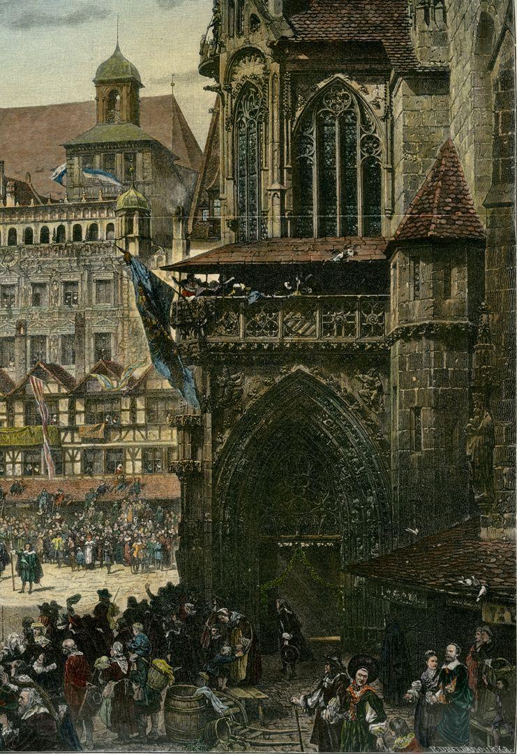 Marktplatz in Nürnberg mit Einzug Kaiser Leopolds 1658