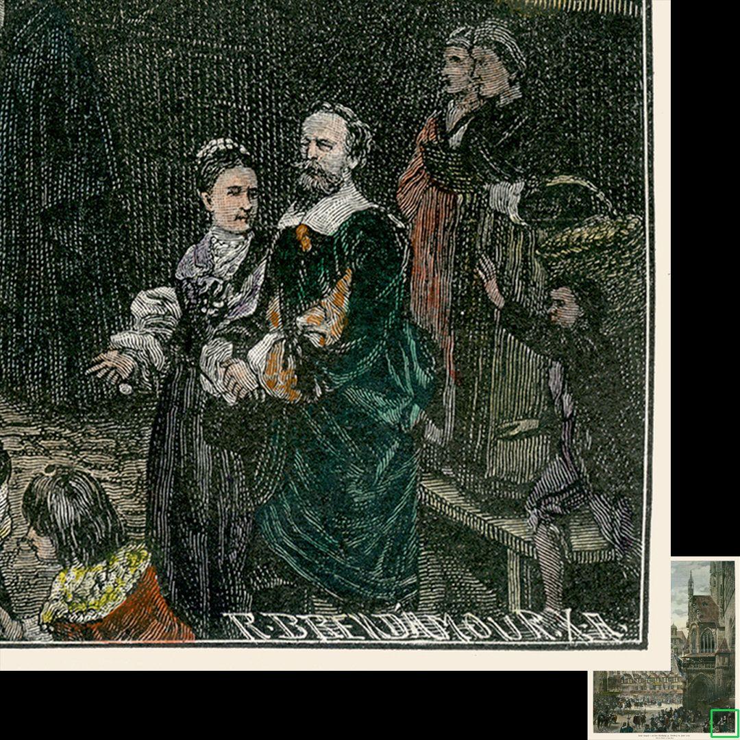 Marktplatz in Nürnberg mit Einzug Kaiser Leopolds 1658 Der Besitzer des Gemäldes, Philipp Krafft und seine Gattin. / unten die Signatur der Xylographischen Anstalt von Richard Brend'amour